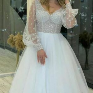 لباس عروس آستین پفی کد 9940
